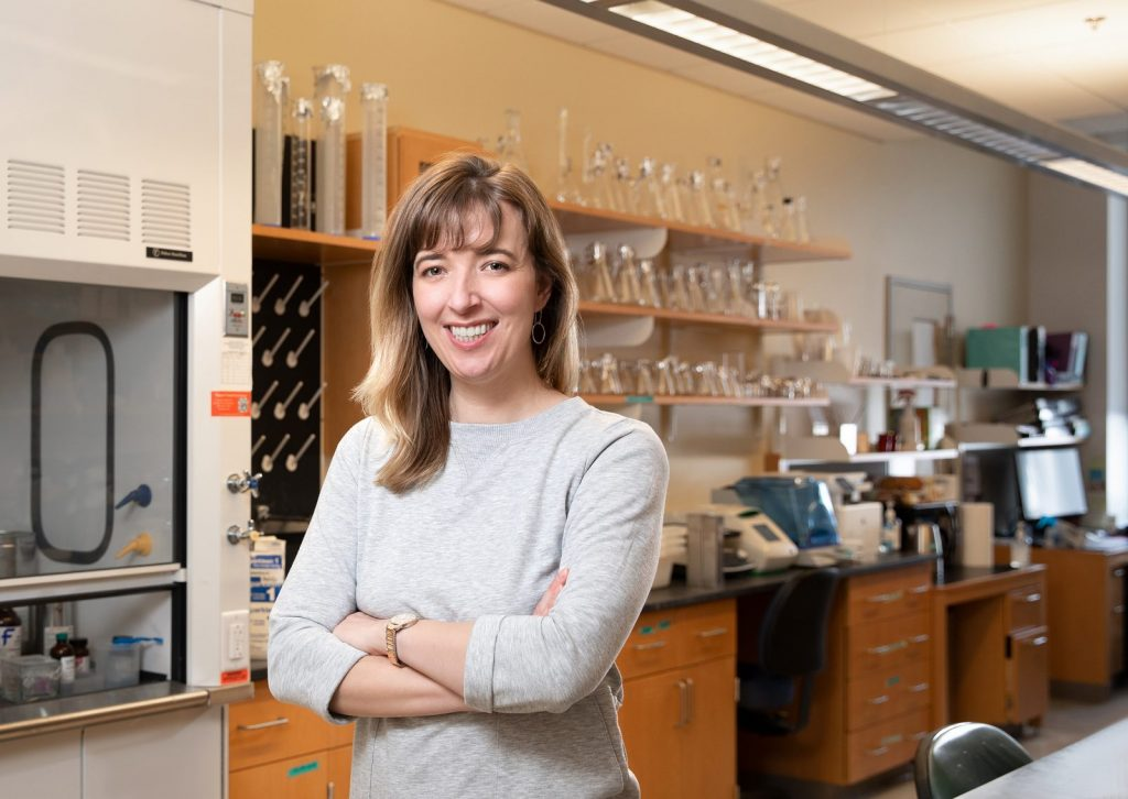 Heidi Hehnly in her laboratory.